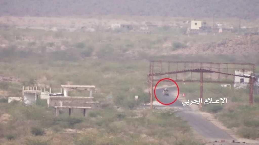 بالفيديو   تدمير آلية لتحالف العدوان السعودي في #تعز