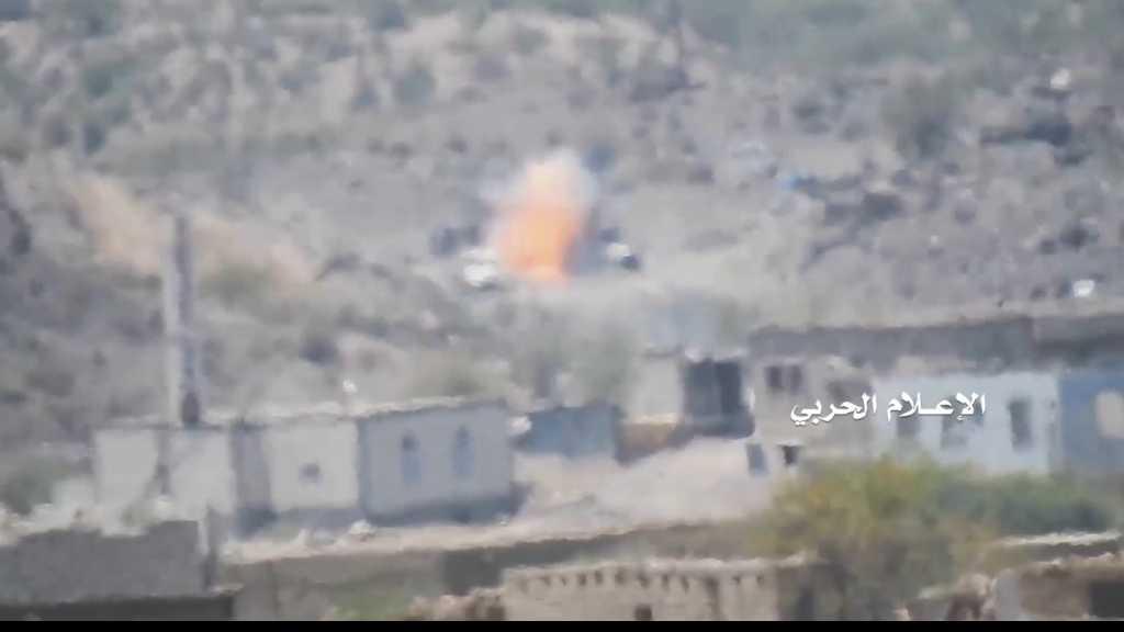 بالفيديو | تدمير آلية عسكرية محملة بالمسلحين في #الضالع