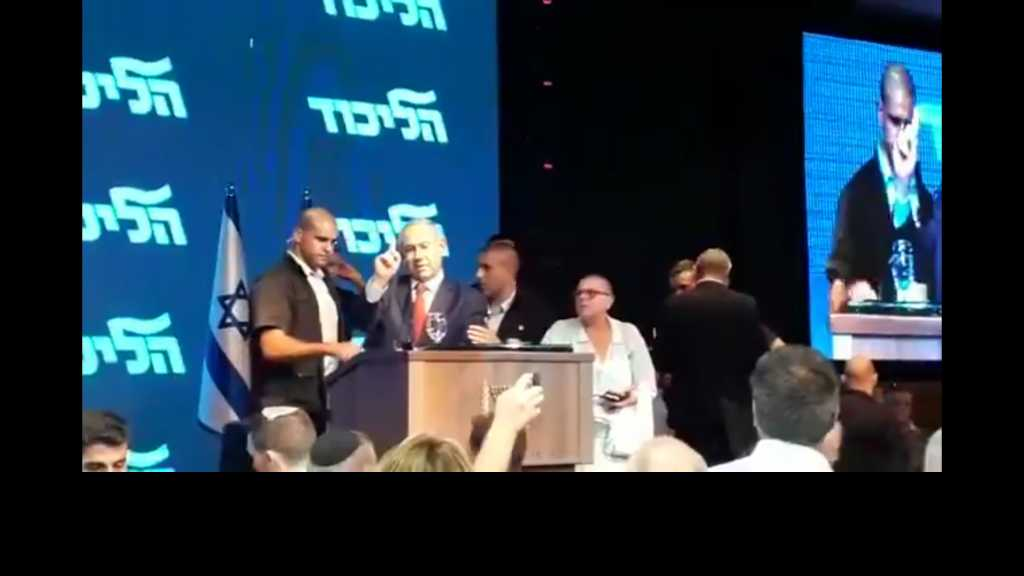 صواريخ #المقاومة_الفلسطينية تسقط قرب حفل انتخابي يحضره نتنياهو