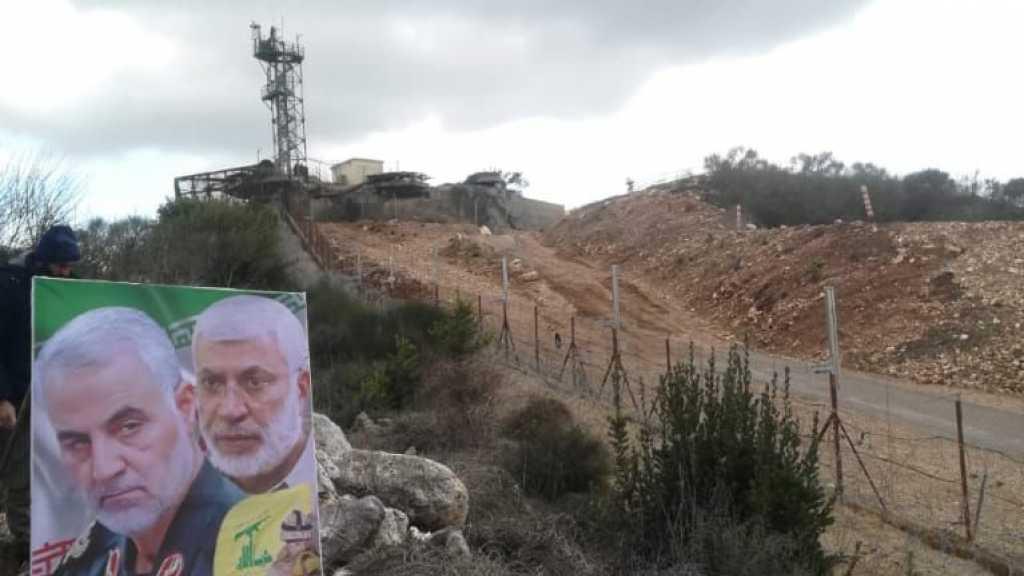 صورة الشهداء القادة سليماني والمهندس مقابل موقع الراهب الصهيوني